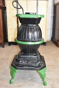 Antique Cast Iron Pot Belly Wood Stove, ARGUS Mt Penn Reading PA