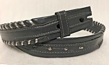 JUSTIN SOUTHWEST Size 34 BELT STRAP GRAY TOP GRAIN COWHIDE WRAPPED EDGES