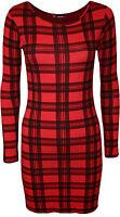 New Womens Tartan Checked Print Ladies Long Sleeve Bodycon Mini Dress Top 8 - 14