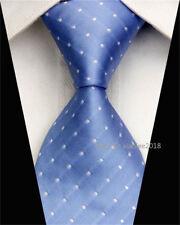 Fashion Wedding Silk Tie Slim Business Necktie White Blue Striped Skinny Ties