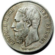 BELGIQUE  pièce en argent de 5 Francs Léopold II 1873