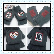 1D One Direction Mittens Gloves Grey Convertible Fingerless New Global Licensed