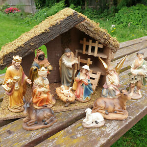 Resin Nativity Set (11 Hand Painted Nativity Figures) & Wooden Manger / Shed
