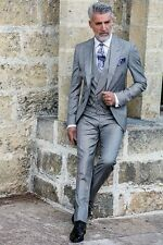 Silver Grey Men's 3 Piece Wedding Groom Tuxedos Groomsman Best Man Party Suits