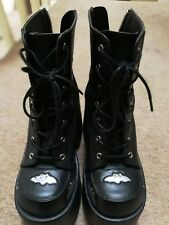 Demonia Camel-201 Black & Silver Bat Platform Heel Boots - Gothic,Goth,Punk,Blac