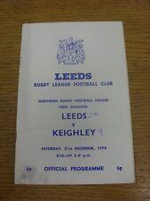 21/12/1974 programma Rugby League: Leeds V keighley (angolo piegato, MACCHIATI, te