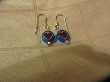 "Small Blue & Red Glass Circle Heart Drop Earrings - 1.25"" long"