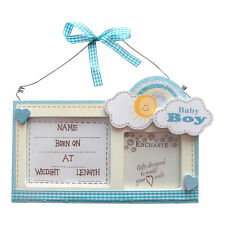 Blue Rainbow Baby Newborn Details Hanger - Gift - Christening New Baby Boy