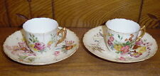 Damaged Pair Of 1892 Royal Worcester Demitasse Cup & Saucer Sets - AS IS