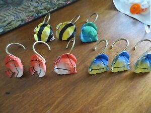 Nine Colorful Fish Shower Curtain Hooks