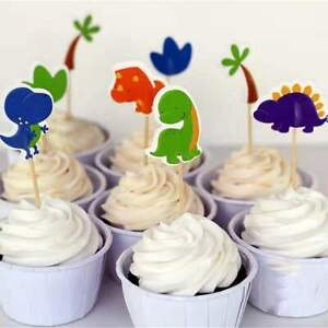 24 Pcs dinosaur  CUPCAKE CAKE TOPPERS Party Supplies Lolly Loot Bags Decoration
