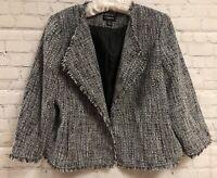 Liz Claiborne Career Womens XXL Blazer Suit Jacket Black White Fringed Lined