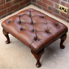 Brown/Red Leather Chesterfield Deep Buttoned Queen Anne Style Footstool