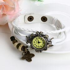 Retro Women Weave Around Leather Bracelet Watch Fashion Lady Quartz Wrist Watch