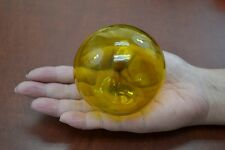 """YELLOW REPRODUCTION BLOWN GLASS FLOAT FISHING BUOY BALL 3"""" F-7A"""