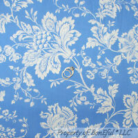 BonEful Fabric FQ Cotton Quilt Blue Cream Victorian Shabby Chic Country L Flower