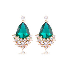 GORGEOUS 18K GOLD PLATED EMERALD GREEN & CLEAR CUBIC ZIRCONIA DANGLE EARRINGS