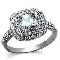 Stainless Steel Cushion Halo Princess CZ Wedding Engagement Promise Ring