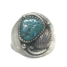 Vintage Sterling Silver Southwest Tribal Turquoise Ring Size 11.75   19g