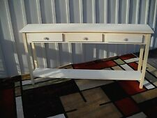 """Unfinished 60"""" Sofa, Console, Shaker Style Pine table w/Shelf & 3 drawers"""