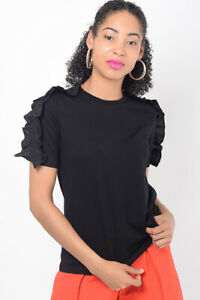 Womens Black T Shirt Ladies Short Sleeve Shoulder Slim Fit Frill Top