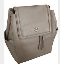NWT Tory Burch Landon Leather Flap Backpack in French Grey