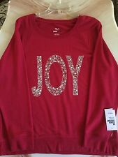 Style&Co. Women beautiful Red Christmas Top NWT Size L, The Word JOY On Front