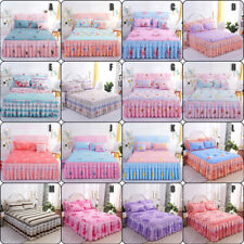 Retro Floral Bed Skirt Dust Ruffle 14in Drop Twin Queen King Bedding /Pillowcase