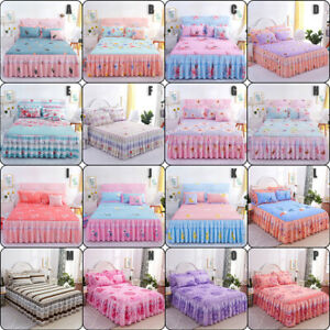 Home Flower Floral Bed Skirt Pillowcase Dust Ruffle Bedspread All Size Bedding