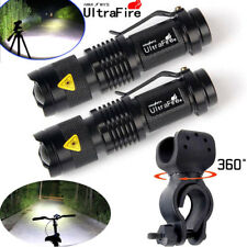 2x Ultrafire 20000LM T6 LED Flashlights Rechargeable Torch Holder Mount Camping