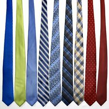 "9 Men's Ties ALL Long AND Skinny 3"" - 3.25"" Modern Designer Bright Silk Tie Lot"