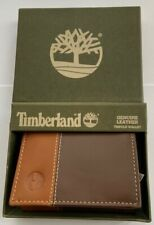 GENUINE TIMBERLAND BROWN / TAN LEATHER TRIFOLD WALLET BRAND NEW IN GIFT BOX