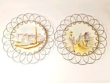 Vintage 50s Lot - Two Thames Hand Painted Plates w Ornate Goldtone Wire Holders