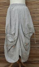 LAGENLOOK LINEN BEAUTIFUL LAYERING BALLOON QUIRKY MAXI SKIRT***GREY**SIZE L-XL