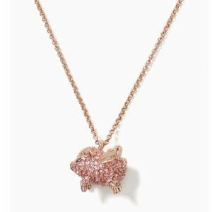 Kate Spade New York Imagination Pave Pink Pig Pendant Necklace