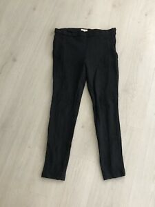 White Stuff Dk Blue Velvet Grey Fitted Leggings / Trousers Sz 12 R