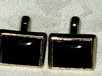 A Pair of Vintage 70's Black Onyx Styled Stone Gold Plated Mens Cufflinks