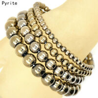 Handmade Natural 4mm 6mm 8mm 10mm Pyrite Gemstone Beads Stretch Bracelet