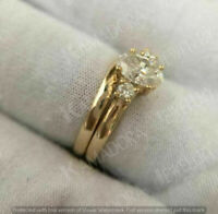 Oval-Cut VVS1 White Diamond 2Ct Bridal Set Engagement Ring 14K Yellow Gold Over