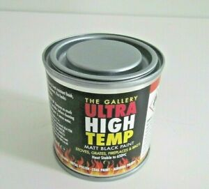 BARBEQUE, CHIMINEA AND STOVE HIGH TEMPERATURE BLACK BRUSH ON PAINT 120ML