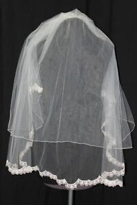 NEW lace edged bridal veil with blusher, Light ivory/silver finger tip