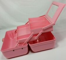 Vintage Caboodles Makeup Case Organizer Pink Mirror 2 Tier 80s Box Pastel AS IS