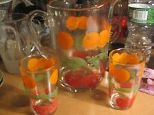Vintage Orange Juice Tomato Juice Pitcher 2 Glasses Kitchen Serving