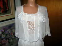 Antique Victorian Hand Crochet White Cotton Lace Blouse. Pearl Buttons Medium