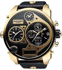 DIESEL MR DADDY DZ7323 XL GOLD BLACK LEATHER CHRONOGRAPH MEN'S WATCH BRAND NEW