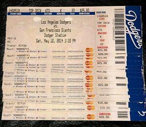 1 2014 LA DODGERS FULL TICKET STUBS 30+ Games Vintage Los Angeles LA