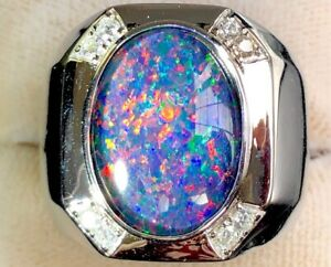 RED FIRE HUGE HEAVY 100% Natural Solid Australian Black Opal Men Ring Big 12 Y