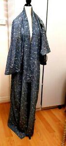Vintage Silk/Linen Blend Kimono LONG LARGE Grey Japanese Original Japan Robe MEN