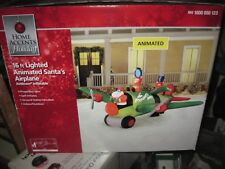New 16 FT Santa Airplane Elf Presents Away Animated Inflatable Christmas Gemmy