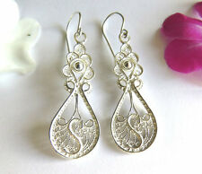 Silver Yemenite filigree earrings , tribal north African earrings , filigree